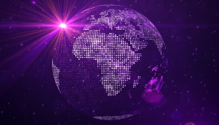 Red,Purple,Light,Of,Square,Shines,Dotted,Globe,Earth,World